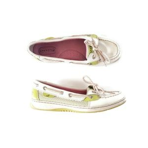 Sperry Top Sider White Lime Green Pink Boat Shoes
